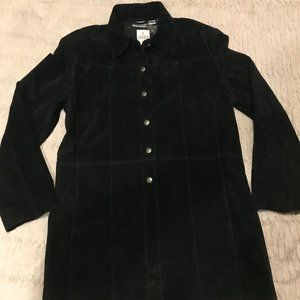 NWT CHICO'S BLACK GENUINE SUEDE JACKET Size 2